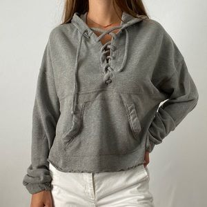 Hollister Gray Hooded Slightly Crop Sweatshirt
